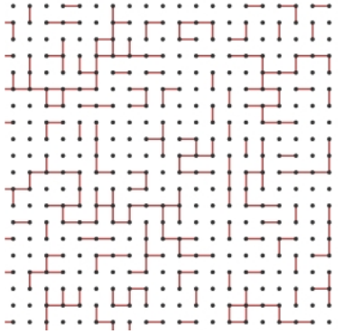 Conectividad en la red con una p=0.3 de crear un nexo entre dos nodos vecinos.