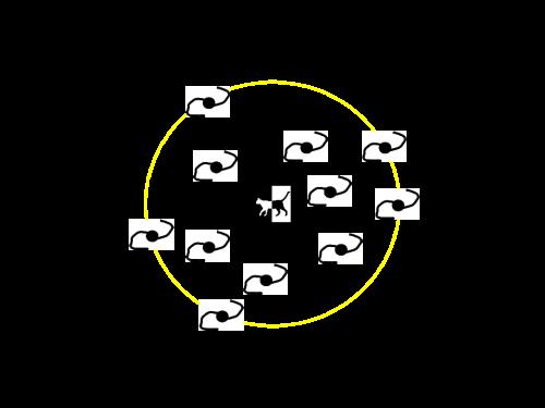 La circunferencia amarilla marca el límite que podemos observar, el límite de nuestro universo observable.