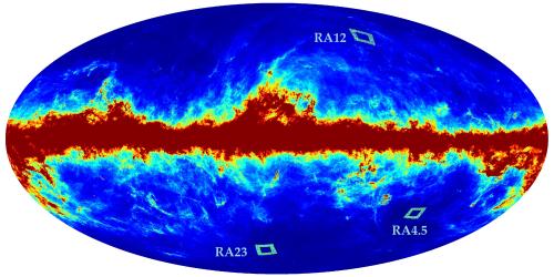 Las regiones de medición del POLARBEAR están indicadas en ese mapa donde se ve la distribución de polvo galáctico.  Parecen regiones muy limpias.