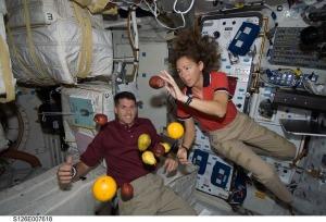 Sandra Magnus en la ISS flotando y sometiendo a fuerzas a un conjunto de sistemas físicos conocidos como frutas